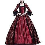 AnyuA Femmes Costumes Médiévaux Renaissance Manches Longues Déguisements Robe Couture de Dentelle Vin Rouge S