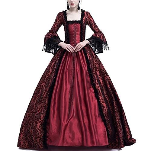 Costume da Regina Medievale Donna Vittoriano Abito da Sera Gotico Rinascimentale Eleganti Vestito Bodeaux S