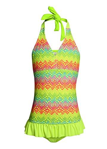 OUO Badeanzug Mädchen,Bademode mit integrierter Hose Baby Anzüge Beachwear Neongelb in M