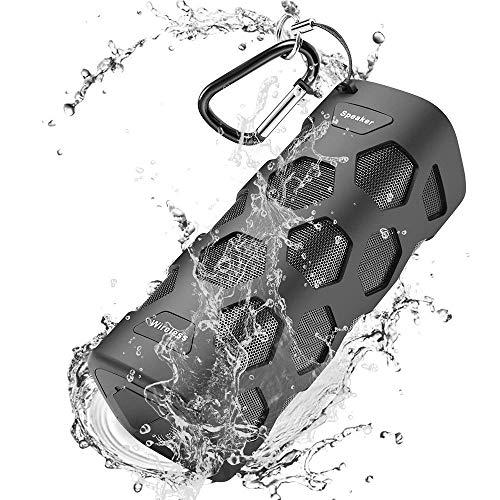 Bluetooth Lautsprecher Wasserdicht, 20W Tragbarer Lautsprecher Boxen Bluetooth, Reinem Bass, Dual-Treiber, Eingebauten Mikrofon, 24 Stunden Spielzeit & 5200mAh Laden Sie Ihr Telefon jederzeit auf Reine Bluetooth