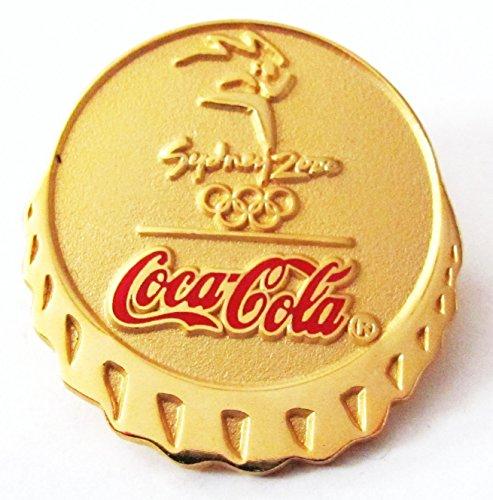 Coca Cola - Olympische Spiele 2000 in Sydney - Kronkorkenform ( goldfarbend ) - Pin 32 x 30 mm (Kostüme Coca Cola)
