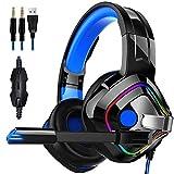 DZCP 7.1-Channel Casque de Gaming RBG Rainbow Streamer/Casque stéréo Caisson de...
