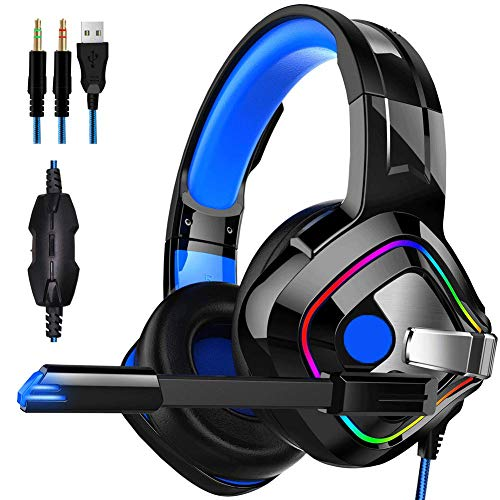 DZCP 7.1-Kanal Gaming Headset RBG Rainbow Streamer/Headset Stereo Subwoofer Fernbedienung Kopfhörer mit Geräuschunterdrückung Mikrofon USB Buchse! Geeignet für PC/Xbox/Handy / PS4, etc. -