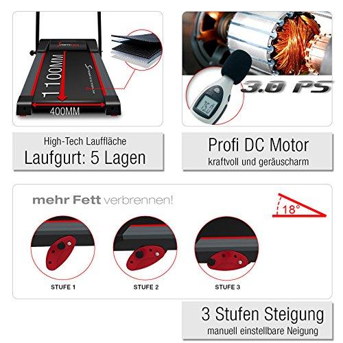 Sportstech F15 Laufband mit Smartphone App Steuerung, Bluetooth, 3 PS, 12 KM/H, 17 Programme und Tablethalterung – kompakt klappbar verstaubar