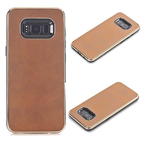 Galaxy S8 Plus Hülle, elecfan® Geometrisch Slim Fit Dual Layer Drop Schutz Burgund Modern Grip für Samsung Galaxy S8 Plus (2017) (Galaxy S8 Plus, Hellbraun-A1)
