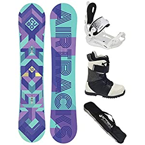 Airtracks Damen Snowboard Set/Cubo Lady Rocker + Snowboard Bindung Master W Fastec + Snowboardboots + Sb Bag / 140 145 150 cm