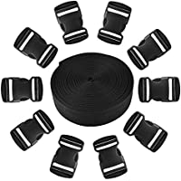 JALAN 25mm 11 Yard Polypropylen Gurtband mit 10 Pack 25mm Release Kunststoffschnallen, wasserdicht für Taschen, Rucksäcke, Gürtel, Geschirre, Schlingen, Halsbänder, Schleppseile - schwarz