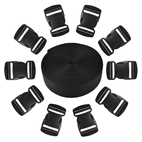 Jalan 25mm 11 Yard Polypropylen Gurtband mit 10 Pack Side Release Kunststoffschnallen, wasserdicht für Taschen, Rucksäcke, Gürtel, Geschirre, Schlingen, Halsbänder, Schleppseile - schwarz -