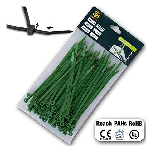 Bradas TS1276150G 100 x Kabelbinder 7,6 x 150 mm, grün