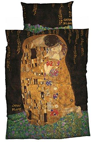 Goebel Artis Orbis Satin-Bettwäsche nach Gustav Klimt Der Kuß 135 cm x 200 cm schwarz-Gold - Orbis Galerie