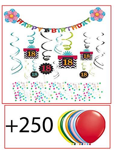 Amscan Int. 18.Geburtstag Dekoration Deko-Set Bunt Happy Birthday Partykette , Spirale mit Motiv , Ballons Flower, Konfetti Achtzehn Jahre+ 250 x Latexballons