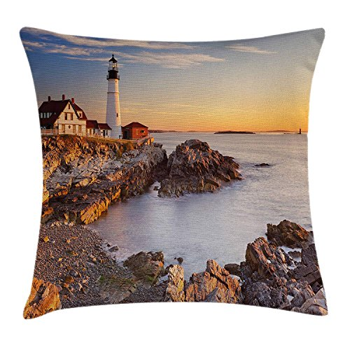Cape Coast Castle (United States Throw Pillow Cushion Cover, Cape Elizabeth Maine River Portland Lighthouse Sunrise USA Coast Scenery, Decorative Square Accent Pillow Case, 18 X 18 Inches, Light Blue Tan)