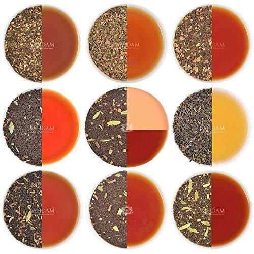 Chai tea sampler set tisane, 10 the assortiti, tè originale dell' india masala chai miscele (50 tazze), 100% ingredienti naturali | spediti direttamente dalla fonte in india | chai tè sfuso foglia