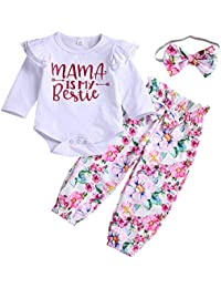 8608f1f7a Scfloth Newborn Girl Clothes Baby Girl Ruffle Romper + Floral Trousers +  Bow Headband Outfits Set