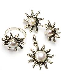 """stargems (TM) Natural Río perla Conjunto de joyería de plata de ley 925diseño único colgante 11/4""""; Anillo 7; Pendientes Stud 1"""""""