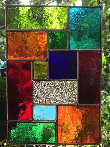 Rechteckige Panels (Handgemachte BuntGlas Sonnenfänger, Buntglas Panel, Multicolor Kupfer Zusammenfassung Glasmalerei Sonnenfänger, Kunst Panel Suncatcher Handmade - Colin Rhodes)