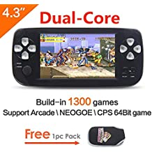 CZT 4.3 inch screen 64Bit Handheld Game Console Portable Game Console build in 1300 no-repeat game for NEOGEO\CPS\GBA\GBC\GB\SFC\FC\MD\GG\SMS MP3/4 camera