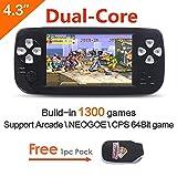 CZT 4.3 Zoll Bildschirm 64Bit Handheld Spielkonsole Portable Spielkonsole bauen in 1300 No-Repeat Spiel für NEOGEO\CPS\GBA\GBC\GB\SFC\FC\MD\GG\SMS MP3/4 Kamera (Schwarz)