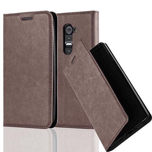 Cadorabo Hülle für LG G2 - Hülle in Kaffee BRAUN – Handyhülle mit Magnetverschluss, Standfunktion und Kartenfach - Case Cover Schutzhülle Etui Tasche Book Klapp Style
