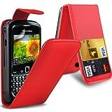 ( Red ) BLACKBERRY 8520 CURVE Premium Faux Kredit / Debit-Karten-Slot Leder Flip Case Hülle & LCD-Display Schutzfolie by Fone-Case