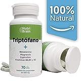 Triptófano con Melatonina y Espirulina | 70 Comprimidos | Fórmula natural para mejorar el sueño, reducir la ansiedad y aumentar la energía y concentración. Con Magnesio y Vitaminas B6, B5 y B3. | Recomendado como alternativa saludable a fármacos convencionales