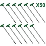 Yaheetech Lot de 50 Piquets Clous de Tente - 25cm de long - 7mm de diametre pour le...