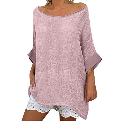 SHE.White Damen Casual Baumwolle Leinen Blusen Sommer Einfarbig Loose Langarm Oberteile T-Shirt Oversize Tunika Shirts S-2XL -