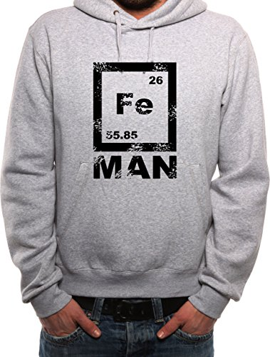 Mister Merchandise Herren Hoodie Kapuzenpullover FE MAN Iron Man Ironman Eisen Chemie Nerd , Größe: XXL, Farbe: Grau