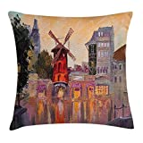 KAKICSA European Throw Pillow Cushion Cover, Painting of Moulin Rouge in Paris City Centre of Love Vintage France Art Print, Decorative Square Accent Pillow Case, 18 X 18 Inches