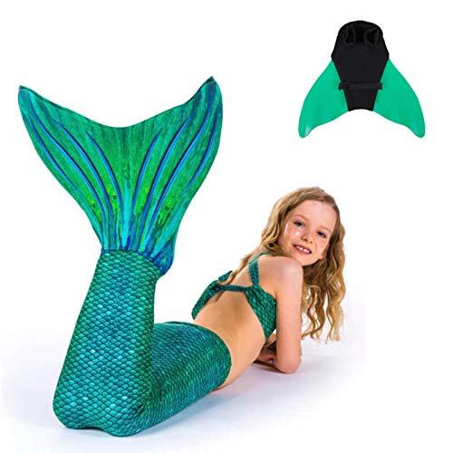 SUN TAILS Set Meerjungfrauen Kostüm Sirene Green Meerjungfrau Schwimmflossen Monofin Kinder Jugendliche Erwachsene L grün