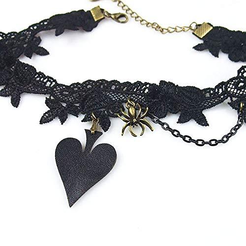 Lace Drop (XZZZBXL Damenhalskette Frauen Lady Handgemachte Lolita Gothic Punk Herzen Spaten Pu Leder Spider Drop Kette Floral Lace Collier Kurze Halsband Halskette)