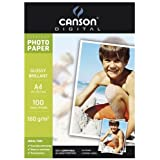 Canson Digital Everyday Papier Photo Brillant 180 g A4 Blanc - Lot de 100 Feuilles