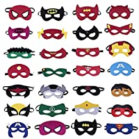 BEYOND MS Superheroes Party Masks Children Party Masquerade,28 Piece Superhero Cosplay Masks, Great Birthdays, Halloween, Cosplay, Party Bag Filler Etc, Felt Mask Adjustable Elastic Rope Ages 3-Plus