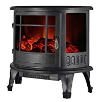 """IKAYAA Electric Stove Fire,Electric Heaters Freestanding with Flame Effect Log Burner Fireplace Adjustable Flame/Temperature Control 1800W 23""""*11""""*22"""""""