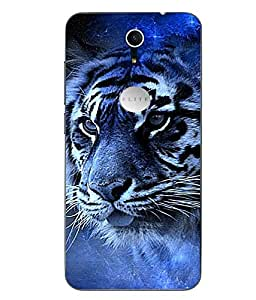 Case Cover Tiger Printed Blue Soft Back Cover For Swipe Elite Plus