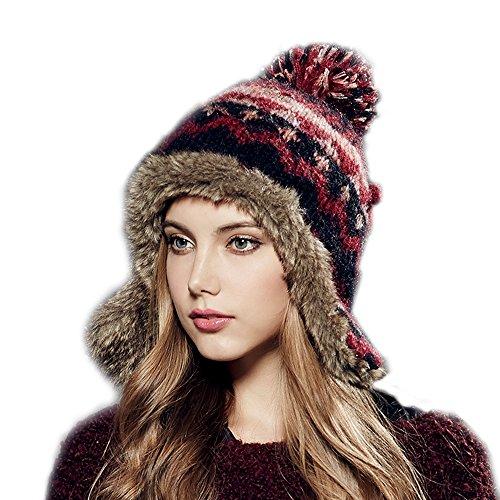Kenmont Winter Frauen Dame 100% Hand Knit Faux Fur Earflap Beanie Ski Mütze (lila Rot)