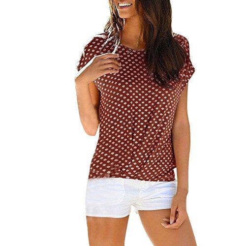 SEWORLD T-Shirt Damen Sommer Mode Lose Kurzarm Gedruckt Casual T-Shirt Bluse Tops (XL, Kaffee) -