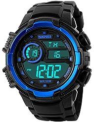 Nuricher Reloj Deportivo de 12/24 Horas de Multifunciones Pulsera Digital de Moda Resistente al Agua de 50M con Gran Dial para Deportes Exteriores para Hombre (Azul)