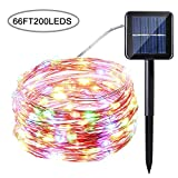 Tempo 66ft 200LED Solar Powered String Lights,Copper Wire Lights with 8 Modes, Waterproof Starry String Lights, Indoor/Outdoor Solar Decoration Lights for Gardens, Patios, Homes, Parties(Multi-Color)