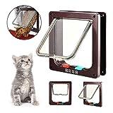 NAN-YAN Magnetische Katzenklappe, intelligente Kontrolle, Haustiertür mit 4-Wege-Schloss für Katzen, Kätzchen und Kleine Hunde (3 Größen und 2 Farben zur Auswahl)