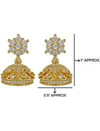 MUCH MORE Gorgeous American Diamond Cz Fashion Jewellery Traditional Jhumki For Womens