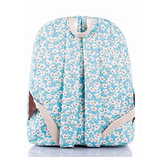 OUFLY Print Blumenrucksack gedruckt Leinwand Rucksack Schulter Satchel Schultasche Daypack Hellblaue Chrysantheme