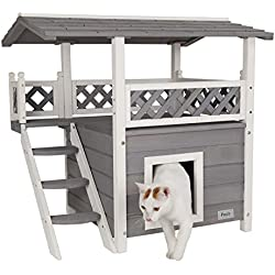 Petsfit Cat House Lodge, Casa de madera de madera para interiores con lugar de descanso, casa de gato de dos pisos, color gris, 77 cm x 56 cm x 73 cm