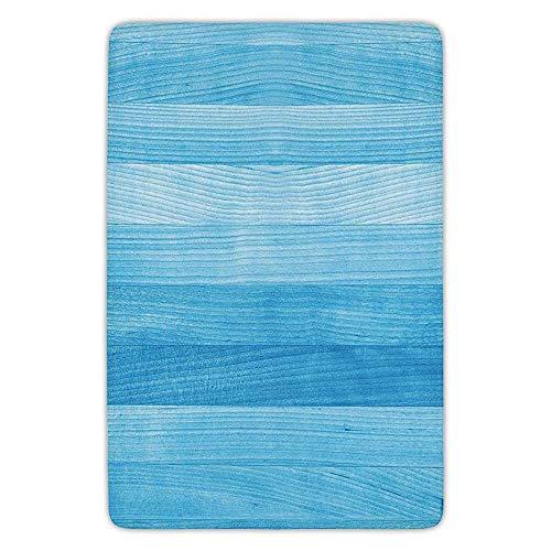 Bathroom Bath Rug Kitchen Floor Mat Carpet,Light Blue,Wooden Planks Painted Texture Image Oak Tree Surface Maple Pine Board Stripes Decorative,Light Blue,Flannel Microfiber Non-slip Soft Absorbent -