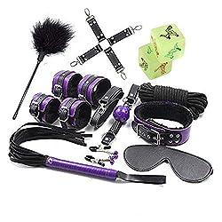 Kits de Correas de Cama Premium para Manos y pies de 10 Piezas de Color púrpura, 2 Dados de diversión Bonus