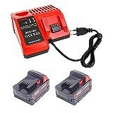 Vervang voor 2 stuks 5Ah 18V Milwaukee batterij M18B5 M18B2 M18B4 48-11 -1850 met 12-18V 3A M12-18C oplader voor Milwaukee M18 48-59-1812 48-59-1807 48-59-1807 48-59-1807