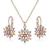 Jösva - Juego de joyería para Mujer, Collar y Pendientes de Flor de Oro Rosa con circonitas cúbicas Colgante con Cadena de 48 cm