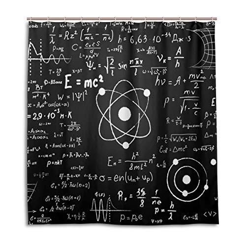 CPYang Duschvorhänge, wissenschaftliche Mathematik-Formel, wasserdicht, schimmelresistent, für Badezimmer, Heimdekoration, 168 x 182 cm, mit 12 Haken -