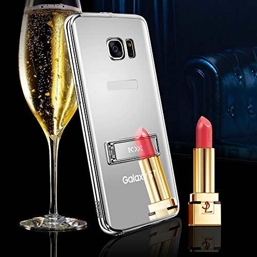 Skitic Peau Miroir Coque pour iPhone 6 / 6S 4.7 inch, Luxe Stainless Steel Metall Frame Bumper Ultra Thin Acrylic Mirror Reflective Effect Dur PC Phone Case Cover Shell Hull Protection Protecteurs Ret Argent