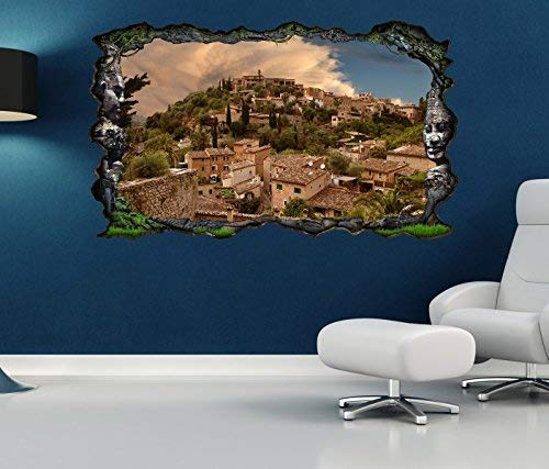 3D Pegatina Pared Mallorca España Toscana Paisaje Natural Estepa Marrón Autoadhesiva Mural Adhesivo de Pared Salón Pared Adhesivo 11O753 - ca. 140cmx82cm